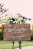 Cartel de madera de bienvenida para boda, con texto en inglés'Welcome...