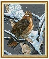 大人のためのDIYクロスステッチ針仕事キット雪の中の枝に鳥11CT刻印されたクロスステッチ用品キット印刷されたパターン生地刺繡針先工芸品16x20インチ