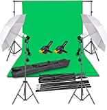 Emart 2.6x3m Photography Backdrop Umbrella Studio Lighting Kit, 1.8x2.m Green Screen and Background Stand Support System for Photo Video Shoot