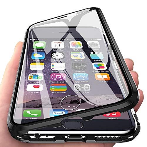 Eabhulie iPhone 6s Hülle, Vollbildabdeckung Gehärtetem Glas mit Magnetischer Adsorptionskasten Metall Rahmen 360 Grad Komplett Schutzhülle für iPhone 6 / 6s 4.7
