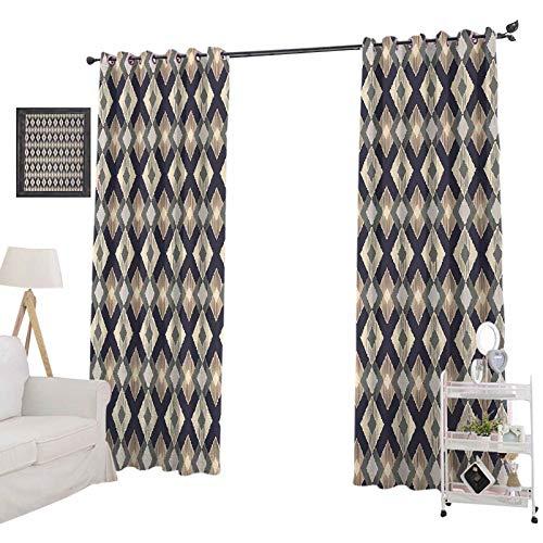 YUAZHOQI Cortinas opacas para dormitorio Ikat estilo Geométrico diamante figuras y triángulos diseño de arte, para decoración de niños cortinas personalizadas 52' x 96', multicolor