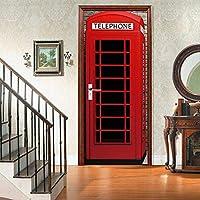 sesemao3Dインテリアドアベッドルームステッカードアステッカー防水粘着紙リビングルームベッドルームオフィスバスルームファミリー赤い電話ブース-80 * 210