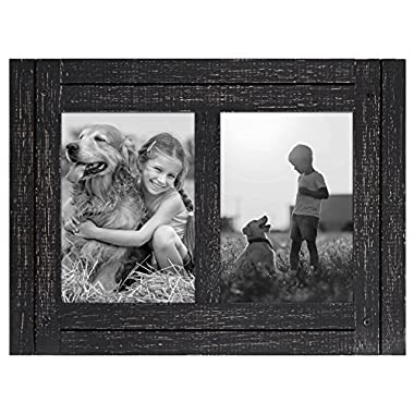 Americanflat 5x7 Charcoal Black Collage Distressed Wood Frame - Made to Display Two 5x7 Photos - Ready To Hang or Stand With Built in Easel