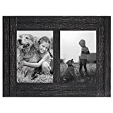 Americanflat 5x7 Double Picture Frame in Charcoal Black - Textured Wood and Polished Glass - Horizontal and Vertical Formats for Wall and Tabletop, 2 5x7 openings (WB0507DFBLK2OP)