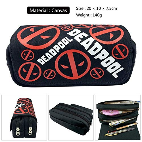 Marvel Comics Deadpool Pencil Case-Large Capacity Pen Case-Double Zippers Pencil Bag Pouch-Pen Bag Holder Organizer with Multi Compartments for Boys Girls Middle High School & Office Supplier (A)