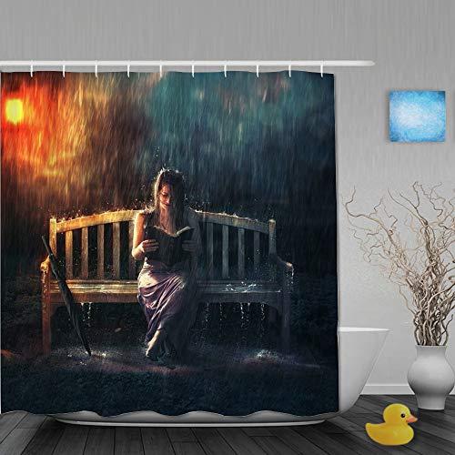 BCVHGD Duschvorhang,Frau Regen Mädchen Bank Lesebuch in Regensturm Regenschirm dunstige Lampe Moderne Kunst,Stoff Badezimmer Dekor Set mit Kunststoffhaken, enthalten - 180x210cm
