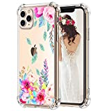 Hepix iPhone 11 Pro Max Case Floral Clear 11 Pro Max Cases Blossom Flowers Pattern for Women Girls, Raised Bezel for Screen Camera Protection Soft Flexible TPU with 4 Cushion Corners Anti-Scratch