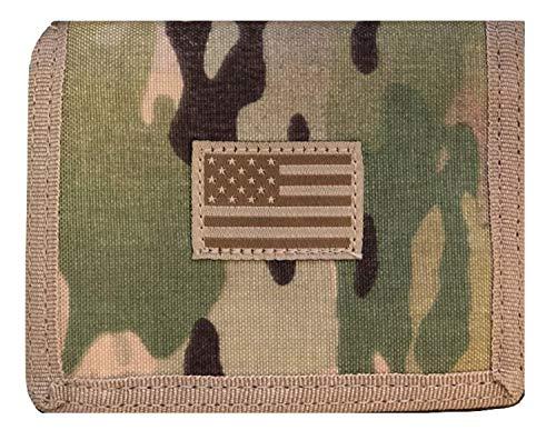 Geldbörse mit USA-Flagge, taktisch, patriotisch, Militär, dreifach faltbar Woodlang / Camouflage Einheitsgröße