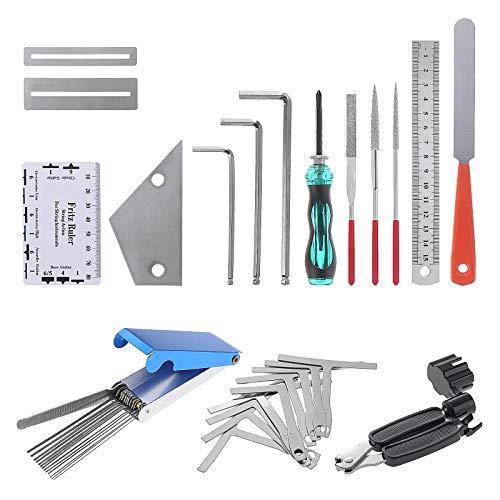 Coolt y Kit de herramientas de reparación de guitarra, kits de limpieza para guitarra, ukelele, bajo, mandolina, banjo, 24 unidades