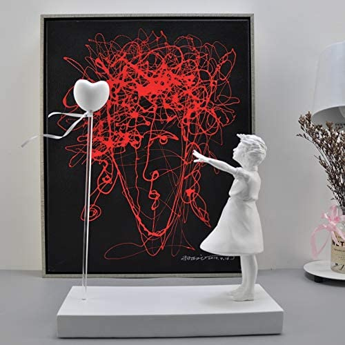 Girl and Heart Balloon Inspired by Banksy s Artwork Modern Decor Sculpture White product image