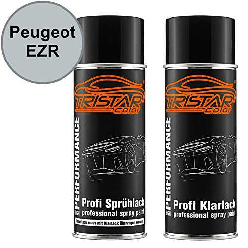 TRISTARcolor Autolack Spraydosen Set für Peugeot EZR Gris Aluminium Metallic/Chronos Silber Metallic Basislack Klarlack Sprühdose 400ml