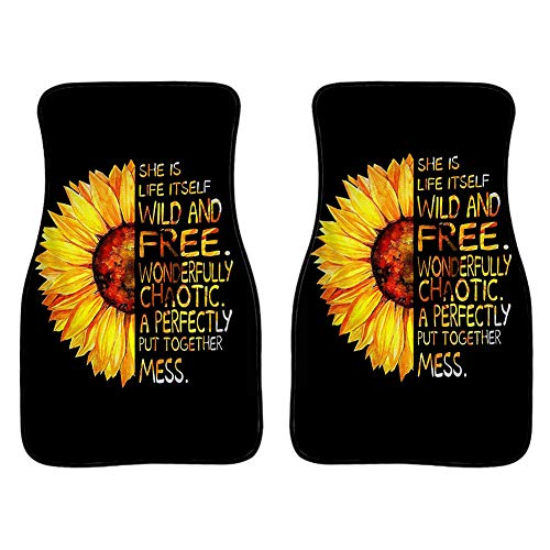 Dremagia Yellow Sunflowers Print Cat Floor Mat She is Life Itself Wild and Free Front Foot Carpets for Women