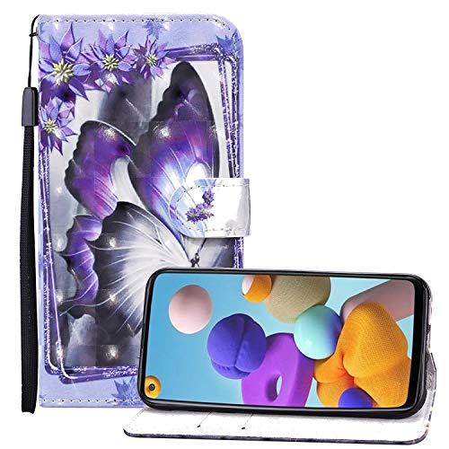 Nadoli 3D Effekt Brieftasche für Samsung Galaxy A01,Schön Lila Blumen Schmetterling Muster Pu Leder Magnetverschluss Kartenfächer Flip Tasche Schutzhülle mit Standfunktion