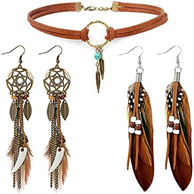 Native American Jewelry for Women with 2 Pairs Boho Feather Earrings and 1 Turquoise Choker Necklace Western Jewelry Set for Women Girls Cowgirl