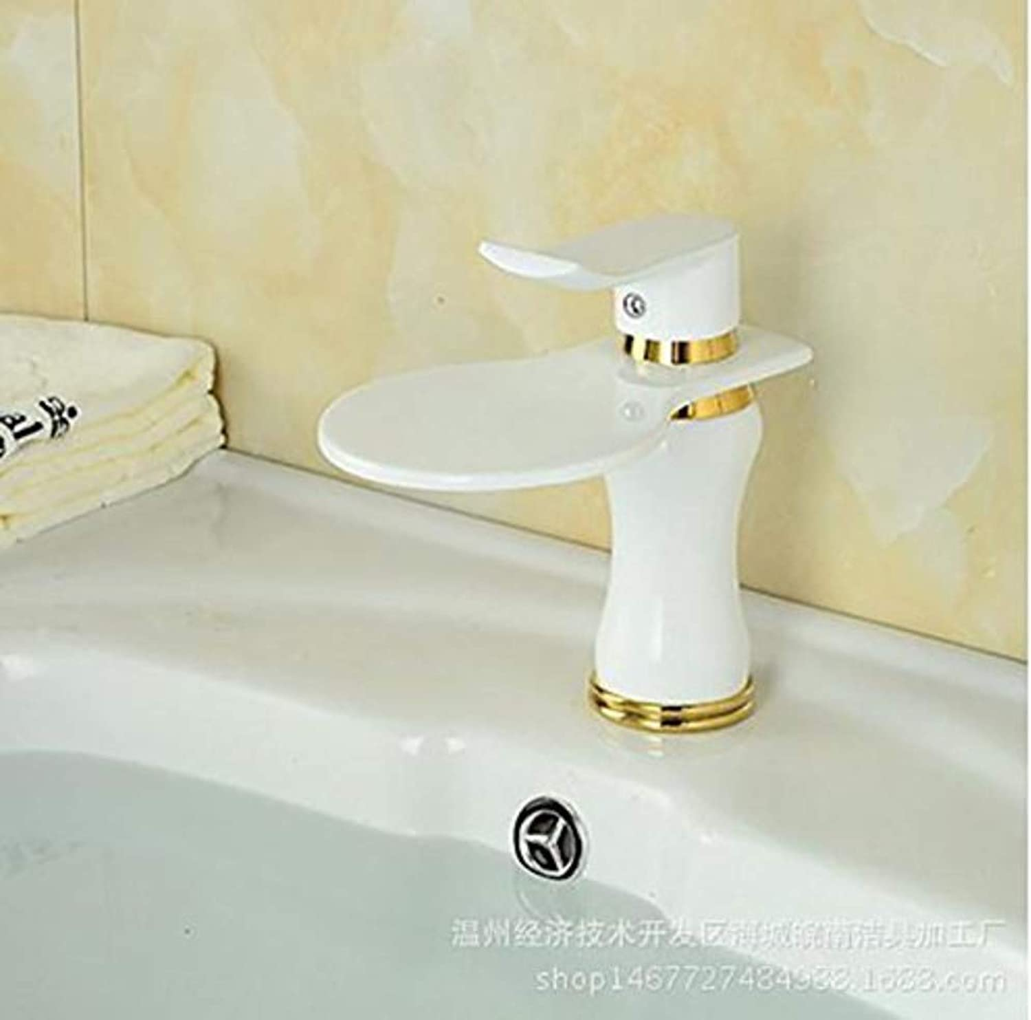Water Tapwhite Hot and Cold Modern Taps Kitchen Brass Faucet Bathroom Sink Basin Waterfall Tap Mixer Water Washroom Bath Tub Shower