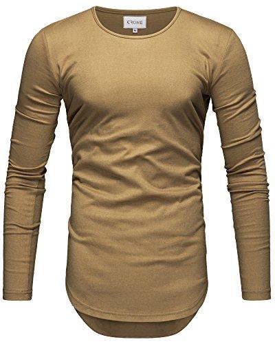 Crone Herren Langarm Shirt Longsleeve Slim Fit T-Shirt Leicht Oversize Basic Sweatshirt in vielen Farben (M, Sand)