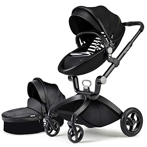Hot Mom Baby Stroller Travel System,High Landscape Pram with Bassinet:PU Leather Pushchair with Pure Cotton Cushion,2021 (Black)