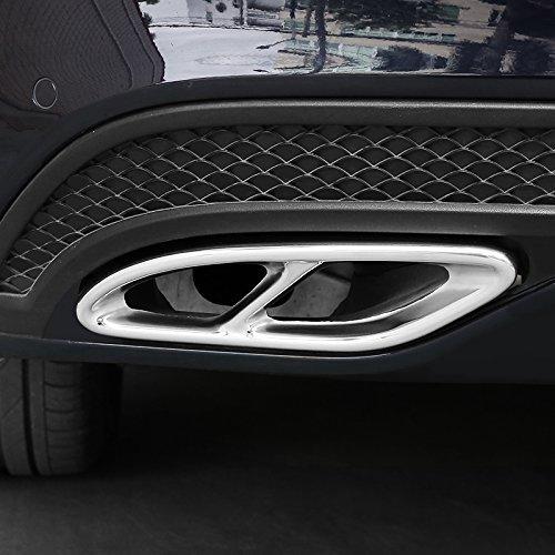 2 x Stahl-Auspuffblende für A B C GLC Klasse W205 W213 W246 W247 X253 W177 E-Klasse C207 Coupe (glänzend)