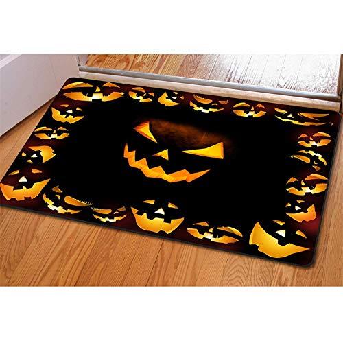 LINFENG Halloween Scary Jack-O-Lantern Kürbis Gesicht Fußmatte Badematten rutschfeste Küchenteppiche und Matten 23,6x15,7 Zoll