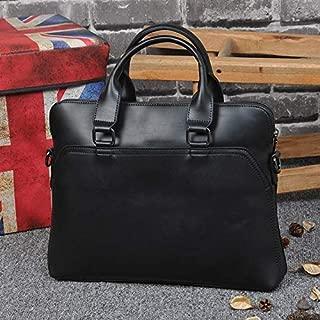 FeliciaJuan Mens Dark Brown Leather Business Briefcase 14 Inch Laptop Shoulder Bag Messenger Handbag