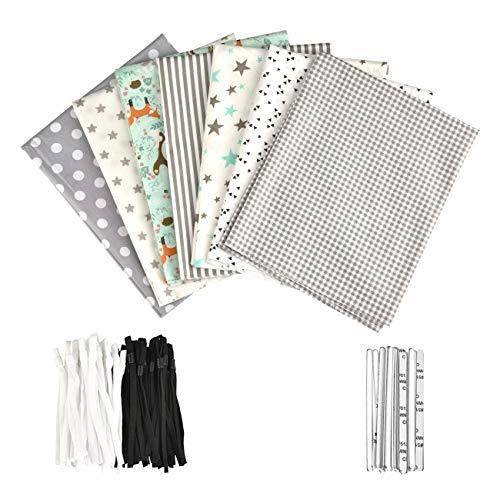 7 Piezas de Telas de Algodón Paquete de Tela 50x80cm para Patchwork Costura DIY Cama de Remiendo de Bricolaje
