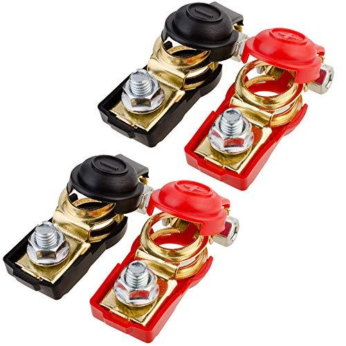 Amacoam Accuklemmen, 12 V/24 V/48 V, accupoolklemmen, accuklemmen, snelklemmen, snelklemmen, stekkerverbinder, accuklemmen, aansluitklemmen, accu boot, auto, 2 paar