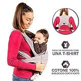New 2020 - KALPAS - Fascia Porta Bambino Facile Da Indossare (Easy On), Taglia Unica Unisex   Marsupio Neonati Multiuso   Fascia Porta Bebe Elastica Baby Wrap Carrier Band - Grigio Chiaro -