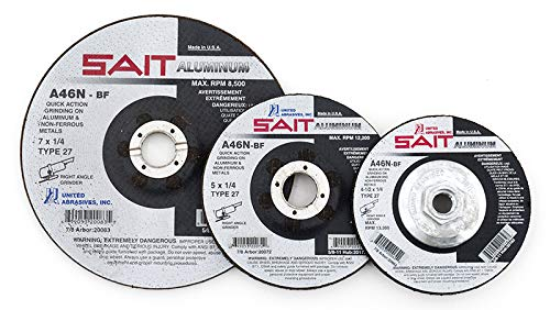 United Abrasives-SAIT 20062 Type 27 4-1/2-Inch x 1/4-Inch x 7/8-Inch A46N Aluminum Depressed Center Grinding Wheels, 25-Pack