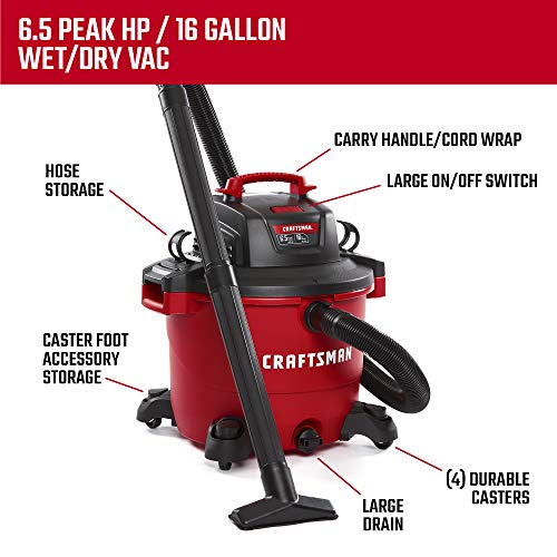 CRAFTSMAN 60 Litre (16 Gallon) 6.5 Peak HP Wet/Dry Vac, Heavy-Duty Shop Vacuum with Attachments (CMXEVBE17595) - Ideal for Car Cleaning, Jobsite, Workshop, Wood Working and Other Projects