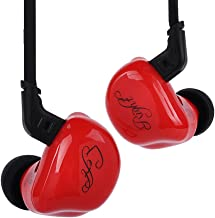 KZ ZSR Triple Driver in Ear Headphones, Bass IEM in Ear Monitors with 1DD 2BA Driver Noise Isolating Earphone with 0.75mm 2 Pins Cable (Red Without Mic)