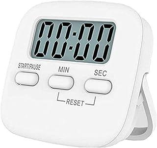 NIAGUOJI - Temporizador de cocina con pantalla LCD grande, temporizador de cocina digital con cronómetro magnético con alarma fuerte (blanco)