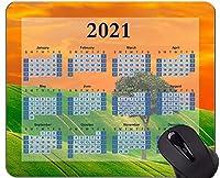 2021カレンダーマウスパッド、グリーングラススカイマウスパッド