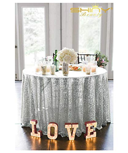 90In Round Silver Sequin Tablecloth,Wholesale Wedding Beautiful Sequin Table Cloth/Overlay/Cover (90In Round)