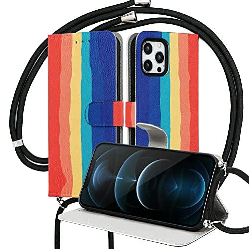 Pnakqil Funda con Ajustable Cuerda con Apple iPhone XS MAX 6,5',Carcasa TPU Suave Silicona Case con PU Cuero Colgante Collar Correa de Cuello Cadena Cordón Back Cover, 5 Barras de Color