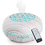 WD&CD Humidificador Aromaterapia Ultrasónico [550ML], 7-Color LED, 3 Ajuste de Tiempo,Súper Mudo Difusor de Aceites Esenciales de luz para Bebes, Hogar, Oficina,Dormitorio— Blanco