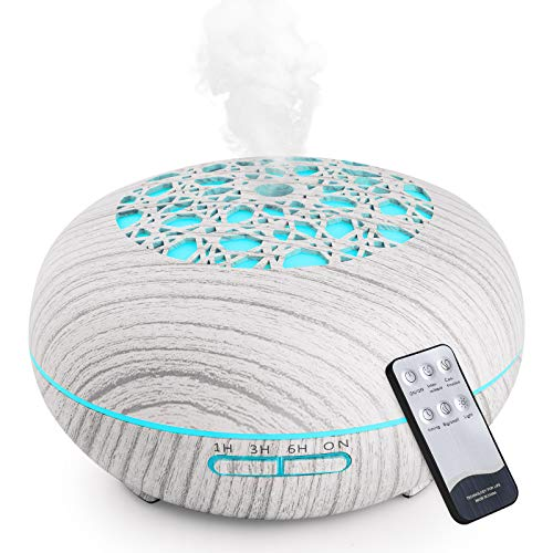 WD&CD Aroma Diffuser Luftbefeuchter 550ml mit Fernbedienung, Ultraschall Vernebler Duftlampe Öle Diffusor mit 7 Farben LED Wasserlose Abschaltautomatik - Weiß