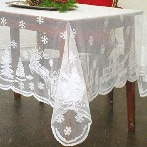 """Asunflower Holiday Tablecloths Rectangle 60"""" x 102"""" White Snowflake Elk Modern Christmas Table Cloths Cover"""