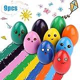 Crayones para Niños Pequeños, 9 Colores Surtidos Crayones Seguro y Lápices de Pintura Lavables Juguetes, para Niños y Niñas Regalo de Pascua (Forma Huevo)