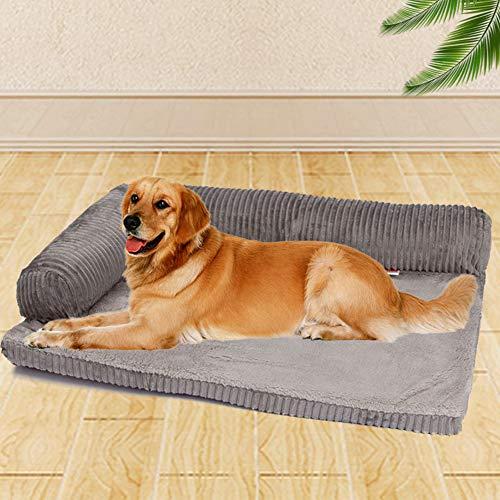 Yuly Cama ortopédica para perros y gatos, 105 x 90 cm, espuma viscoelástica de felpa, colchón para perro, relleno de alta elasticidad, suave funda de pana para perros grandes, desmontable y lavable.