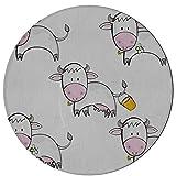 JINCAII Tappeti Soggiorno Biancaneve Happy Sleepy Milk Cow Room Tappeto 2 Piedi Rotondo in Microfibra Antiscivolo Tappeto Lavabile in Lavatrice per Cucina Sala da Pranzo Soggiorno