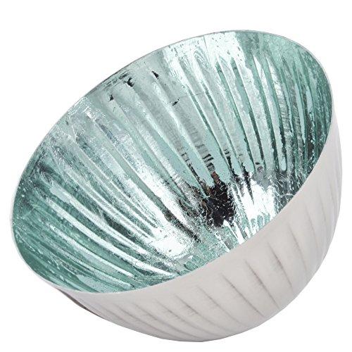 Dadeldo Schwimmschale Teelicht Deko Metall 9x13x13cm Teelichthalter (Silber Mint)