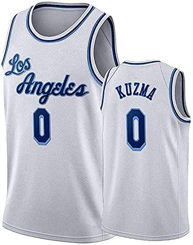 JKHKL Camiseta De Baloncesto para Hombre, Lakers # 0 Camiseta De Baloncesto Kuzma, Camiseta Unisex Sin Mangas Y Transpirable Camiseta Deportiva M White