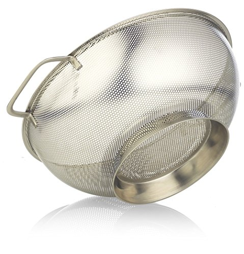 Stainless Steel Colander, 5 Quart Size ~ Microperforated Kitchen Strainer for Pasta, Rice, Orzo, Fruits, Vegetables & More ~ With Riveted Handles & 11.22