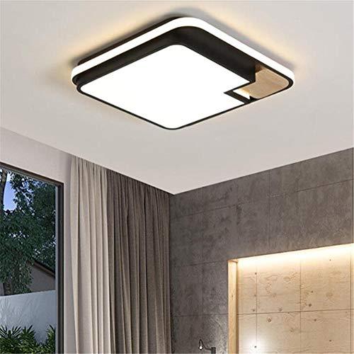 plafones led techo,Nordic, madera maciza, lámpara de dormitorio led, creativa, estudio, sala de estar, lámpara de techo-Monocromo blanco light_50 * 50 * 6cm / 45W