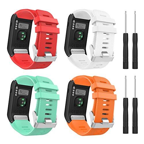 Cinturino Orologio MoKo, 4 Set Cinturino Smartwatch in Silicone Impermeabile con Fori Antisudore, Cinturino Accessori per Garmin Vivoactive HR Sports GPS,Donna Uomo, Multicolori B