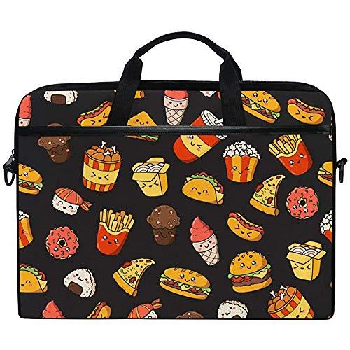 Laptop Hülle,Pizza Sushi Food Pattern Aktentasche Messenger Notebook Computer Tasche Mit Schultergurt Griff,14-14,5 Zoll