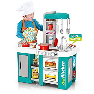 Wotryit Kitchen for Toddlers - Kids Kitchen Playset with All The Sights and Running Water Sounds of Kitchen,24x13x28.5 inches from Wotryit