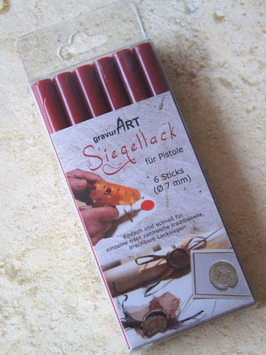 Gravurart - Paquete de barras de lacre para pistola (6 unidades, divisible, 7mm), color rojo oscuro