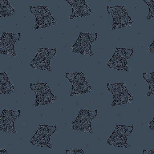 MIRABLAU DESIGN Stoffverkauf Bio Sweat blau, Baumwolle dunkelblau mit Bären Bedruckt GOTS, Bio Sweat (4-250M) 0,5m