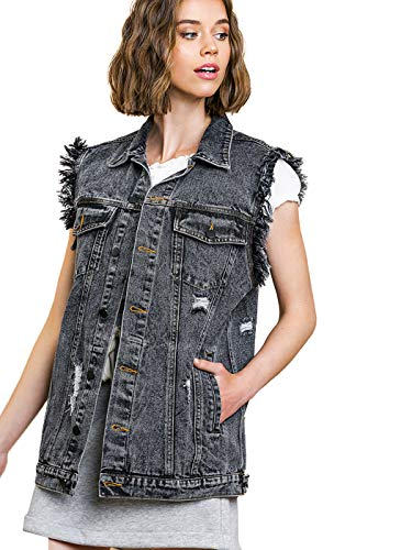 Women's Oversized Distressed Denim Vest Sleeveless Jean Jacket with Pockets 5